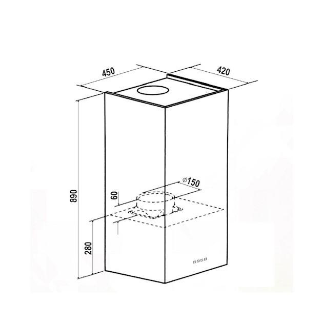 Coifa Ilha Elettromec Proteus Inox 35cm - 220v