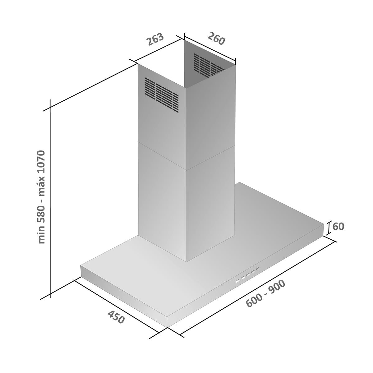 Coifa Fiamma parede inox 60cm - Venturi