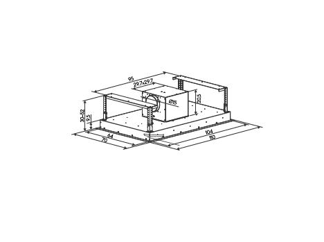 Coifa ilha embutida Teto Inox  110cm - Design Steel