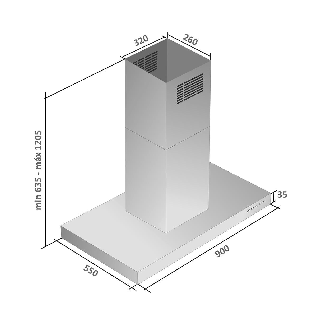 Coifa ilha inox modelo Isis 90cm - Arix