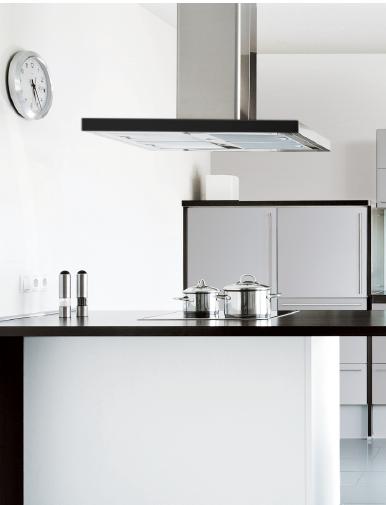 Coifa ilha modelo line Inox e Vidro Touch 90cm - Design Steel