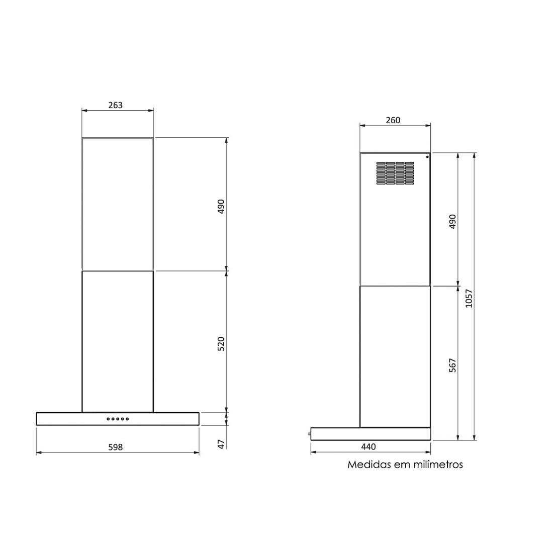 Coifa parede inox modelo Isis 60cm - Arix