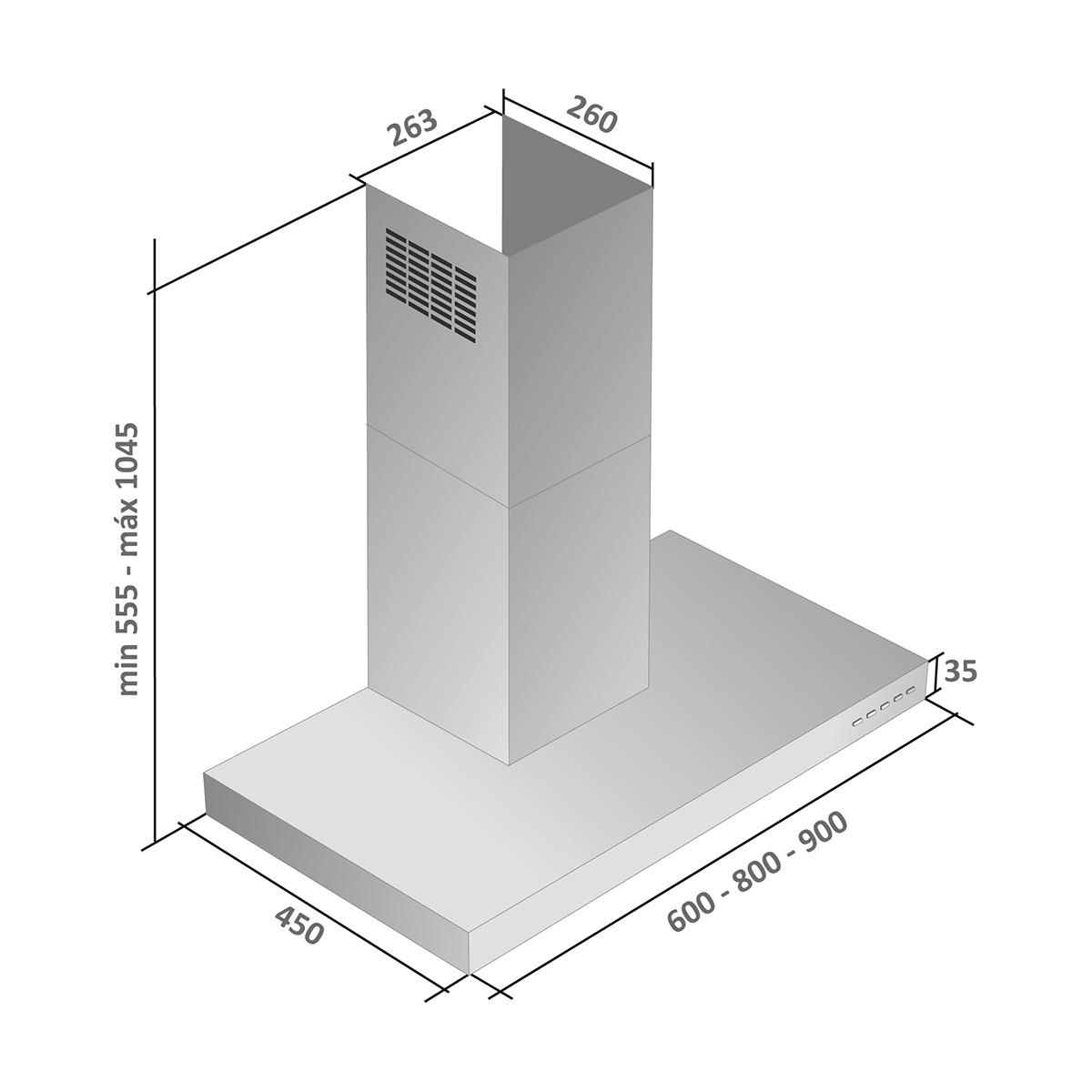 Coifa parede inox modelo Isis 90cm - Arix