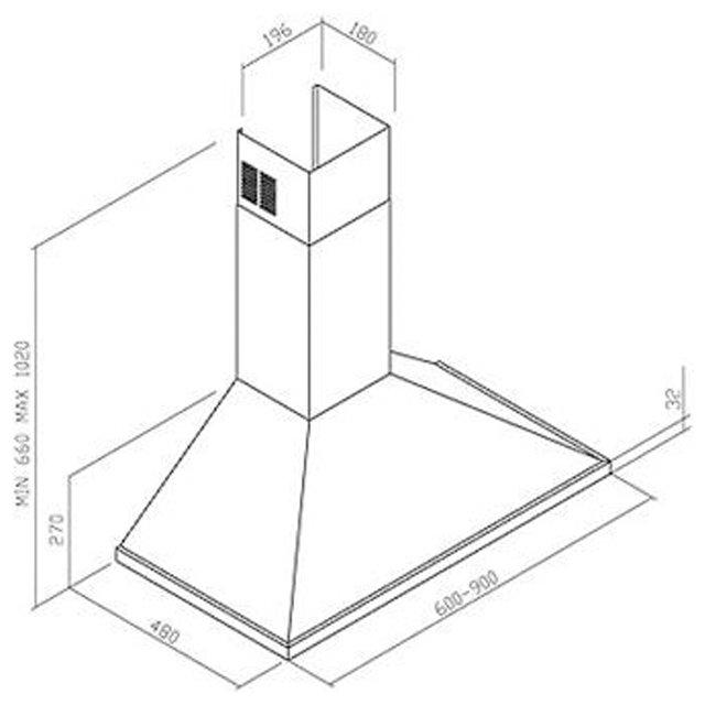 Coifa Parede inox modelo piramidal 60 a 100cm - Design Steel