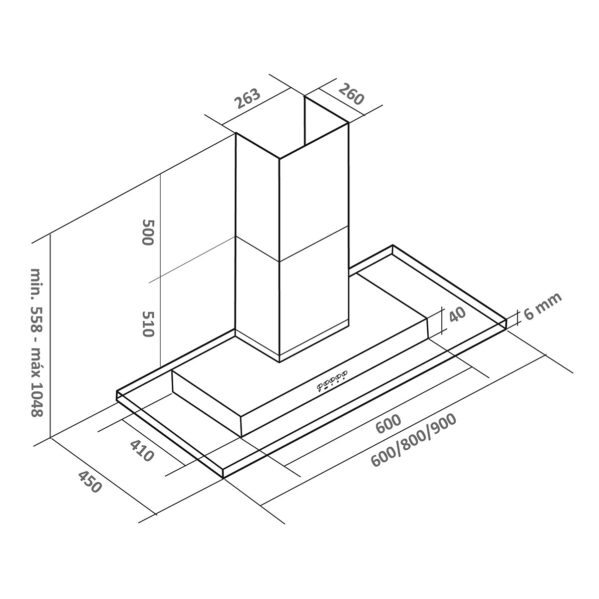 Coifa parede inox/vidro modelo Brisa 60cm - Arix