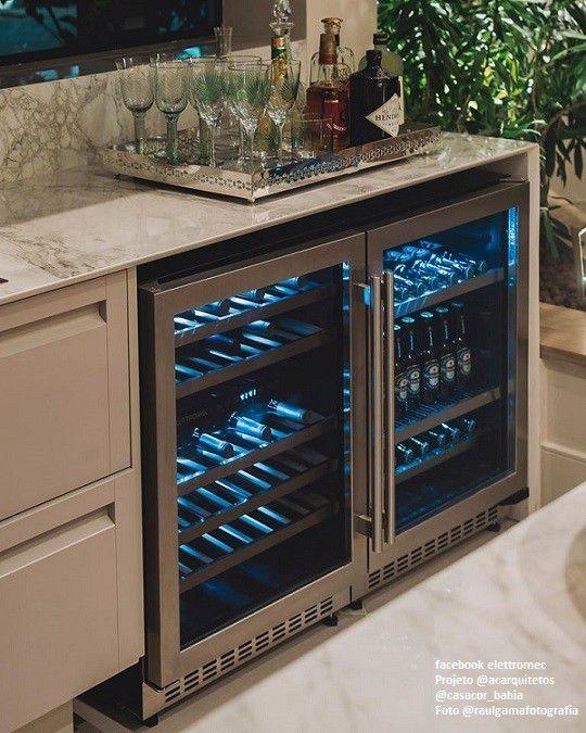 Conjunto Beer Center e Adega Porta Inox Dual Zone Built-in 45 - Elettromec