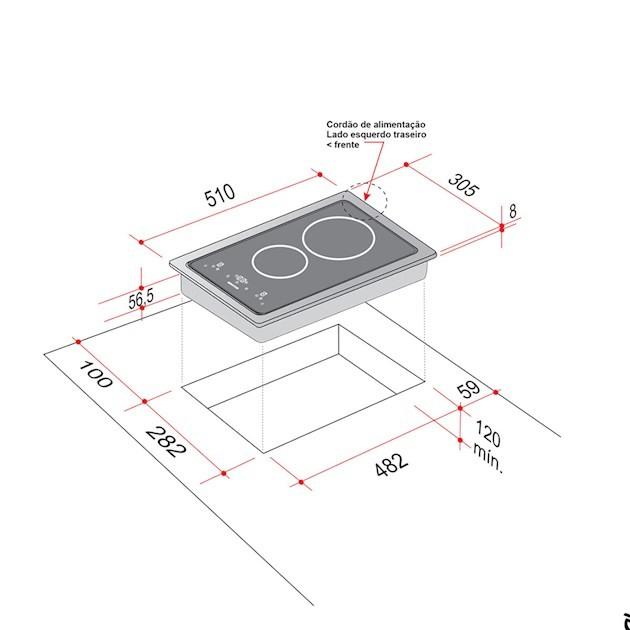 Dominó Elettromec Elétrico Quadratto de Indução 2 Queimadores 30cm - 220v