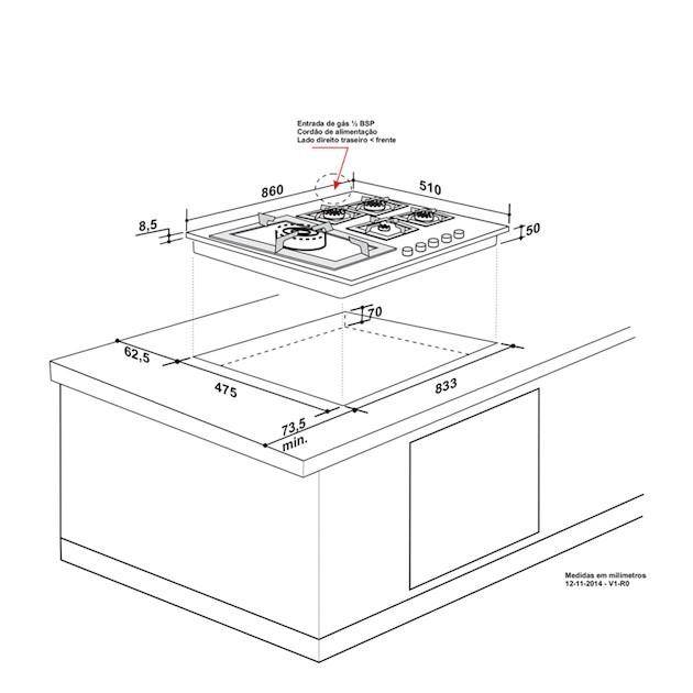Cooktop  a Gás Quadratto inox 5 Queimadores 90cm - Elettromec