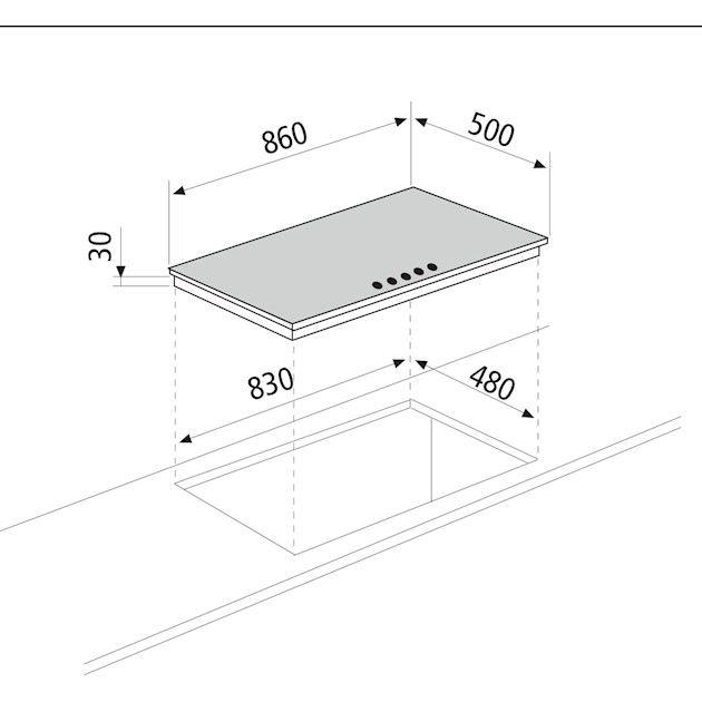 Cooktop Matrix Glem Semiprofissional a Gás 5 Bocas com Tripla-Chama Lateral Inox 86cm 220V - Glem