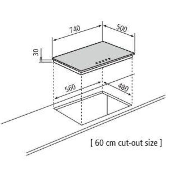 Cooktop Matrix  Semiprofissional a Gás 5 Bocas com Tripla-Chama Lateral Inox 74cm 220V - Glem