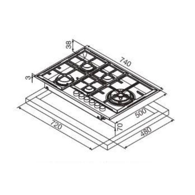 Cooktop Matrix Semiprofissional Semifilo a Gás 5 Bocas com Tripla-Chama Lateral Inox 74cm 220V - Glem