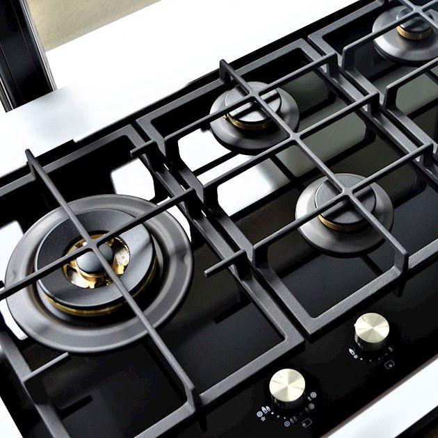 Cooktop Nero Argento Semiprofissional a Gás 5 Bocas Vitrocerâmico 87cm 220V - Elanto