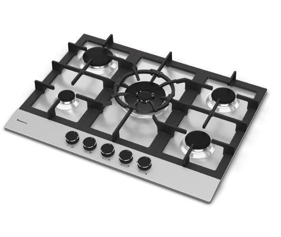 Cooktop Zurique Aço Inox 70cm a Gás 5 queimadores - DeBacco