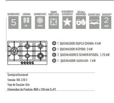 Cooktop Zurique Aço Inox 90cm a Gás 5 queimadores - DeBacco