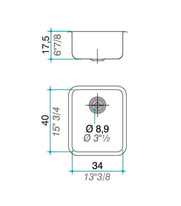 Cuba simples inox 304 polida 40cm - Johnson Acero