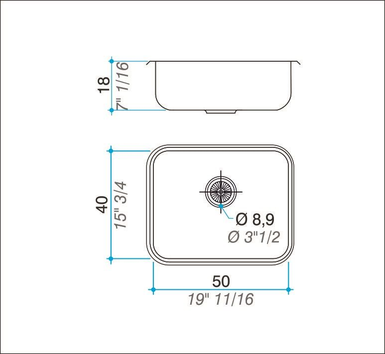Cuba simples inox 304 polida 50cm - Johnson Acero