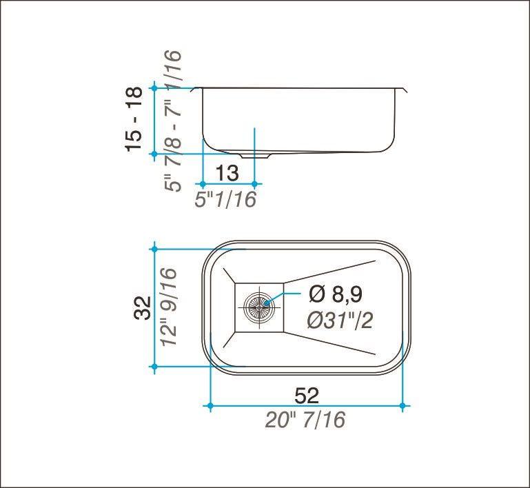 Cuba simples inox 304 polida 52cm - Johnson Acero