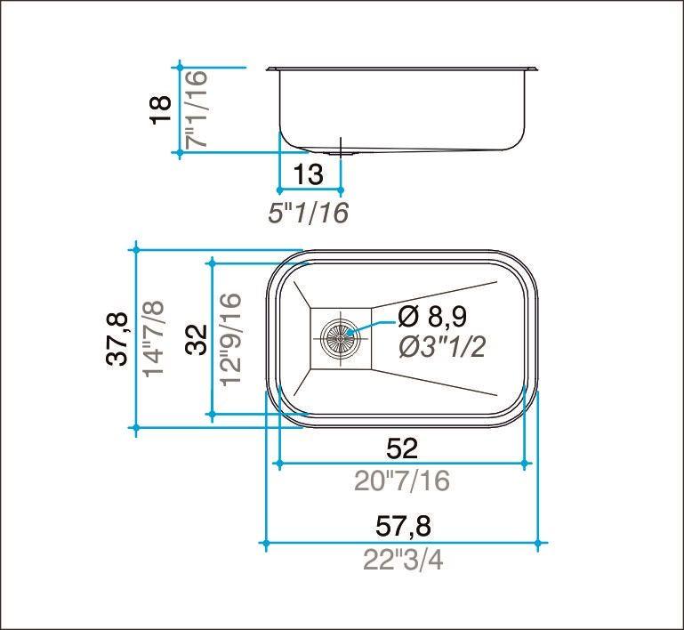 Cuba simples inox 304 polida 57cm - Johnson Acero