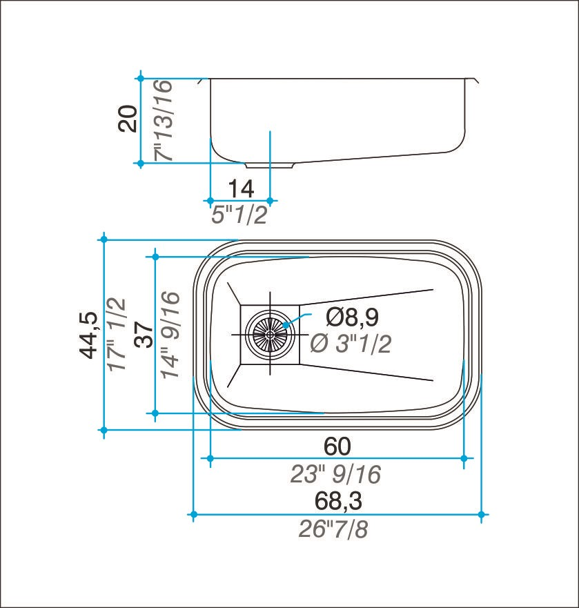 Cuba simples inox 304 polida 60cm - Johnson Acero