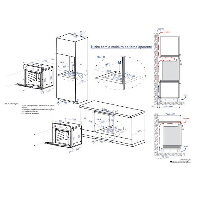 Forno Elétrico Luce Multifunção Digital 56 Litros 60cm - 220v - Elettromec