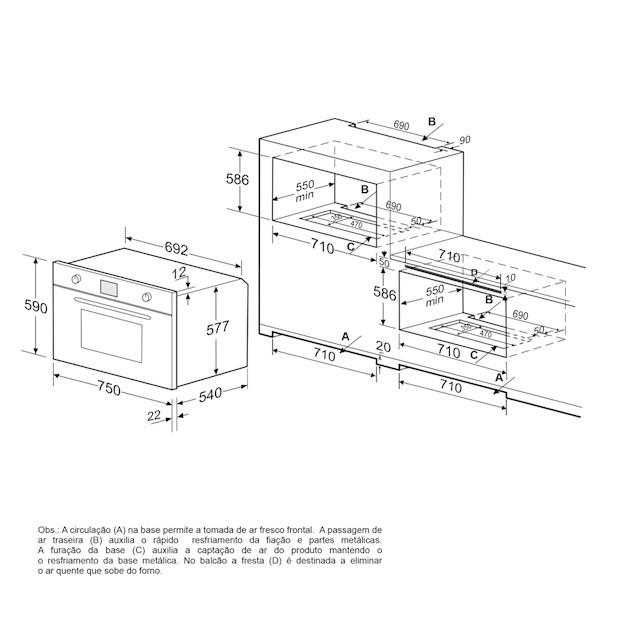Forno Elétrico Luce Multifunção Digital 78 Litros 75cm - 220v - Elettromec