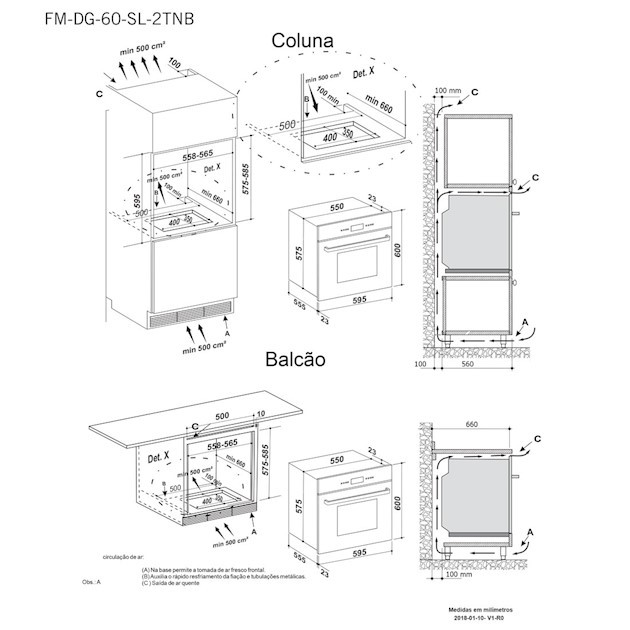 Forno Elétrico Elettromec Sole Inox 67 Litros Built-in 11 Funções Digital 60cm - 220v