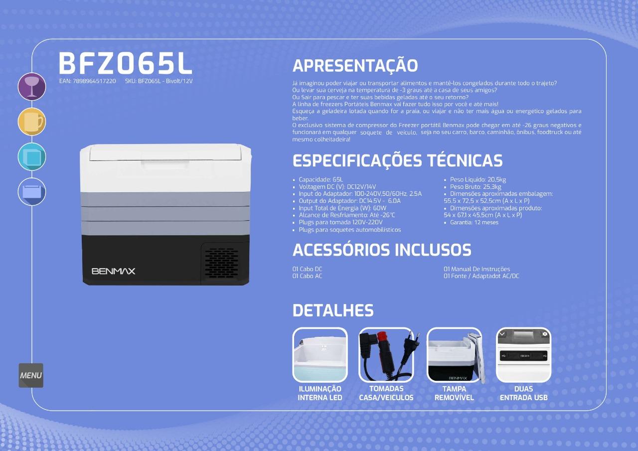 Freezer Portátil a bateria branca 65 litros - Cooler