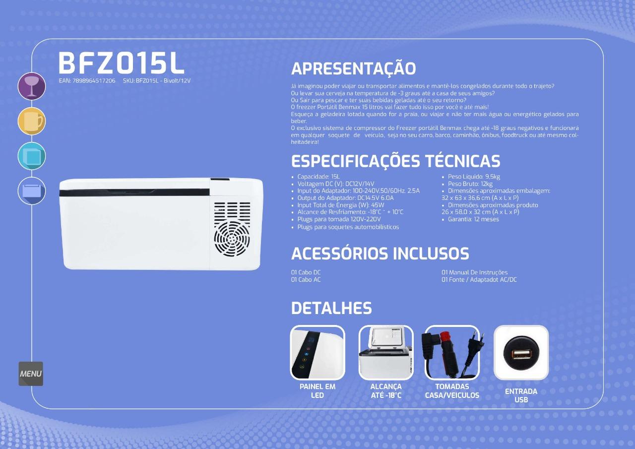Freezer Portátil a bateria branca 15 litros - Cooler