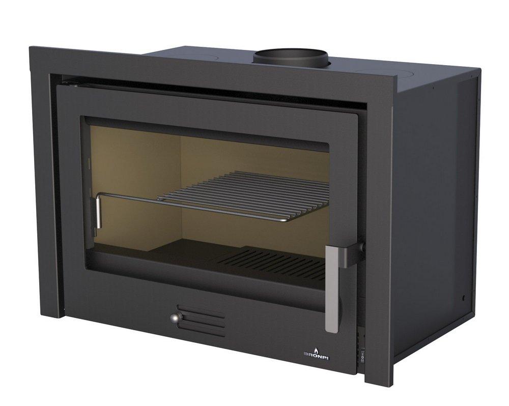 Lareira a Lenha Calefator modelo RIOJA 80 - ar quente canalizável e moldura removível - Bronpi