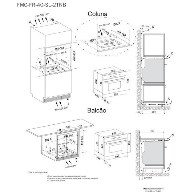 Conjunto Forno + Microondas de Embutir  Sole 40 Litros Built-in 13 Funções inox 60cm - Elettromec