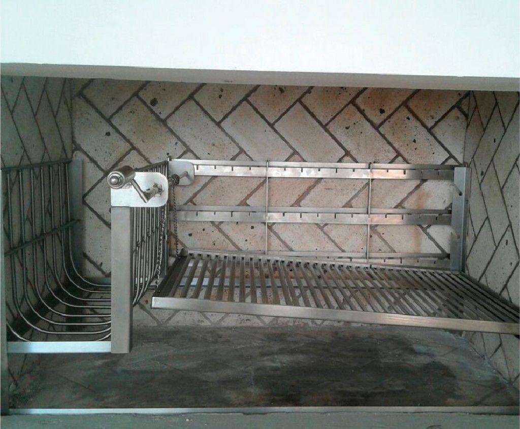 Parrila Uruguai inox a Carvão com grelha manual Linha Gourmet  - Design Steel
