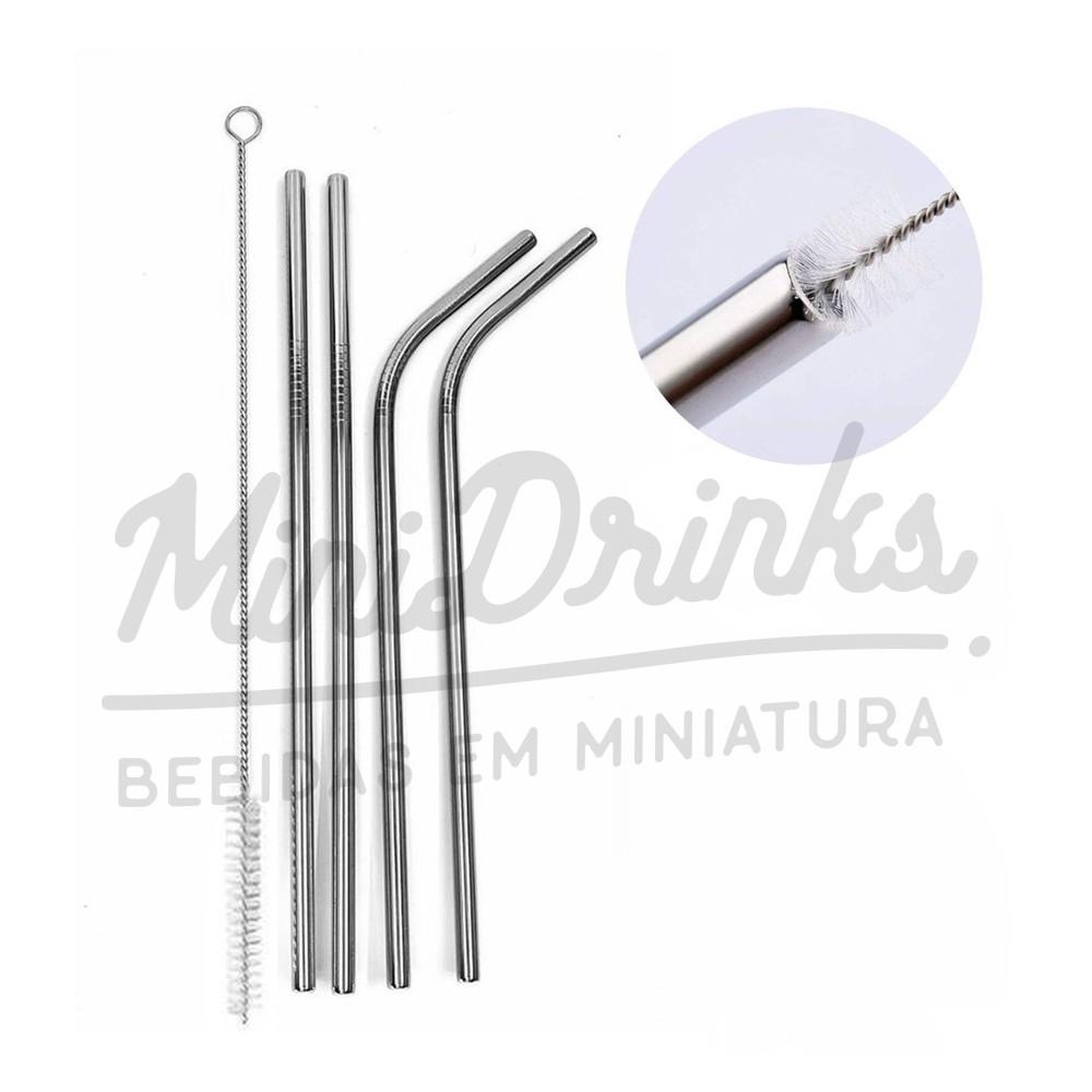 Conjunto 4 Un Canudos Reutilizáveis Inox C/ Escova de Limpeza Mimo Style