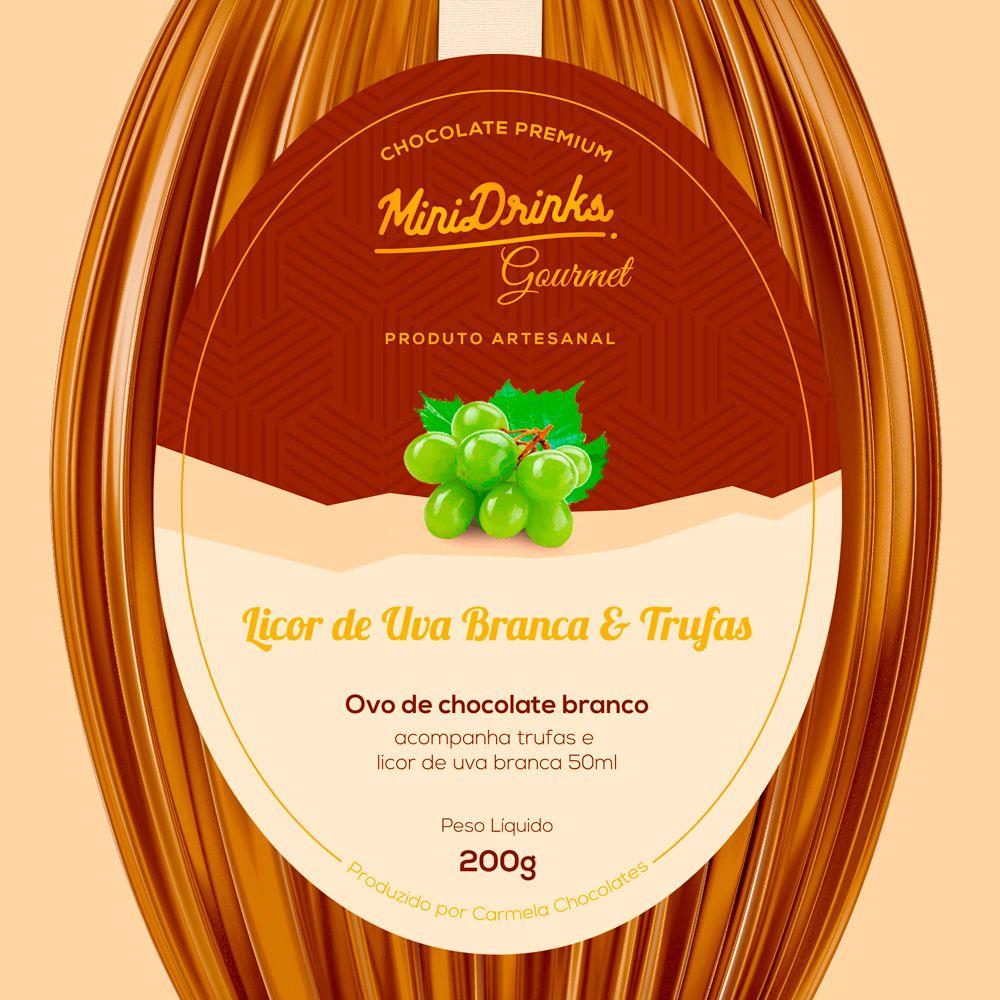 Ovo de Chocolate Branco Minidrinks Gourmet Com Licor de Uva Branca 240g