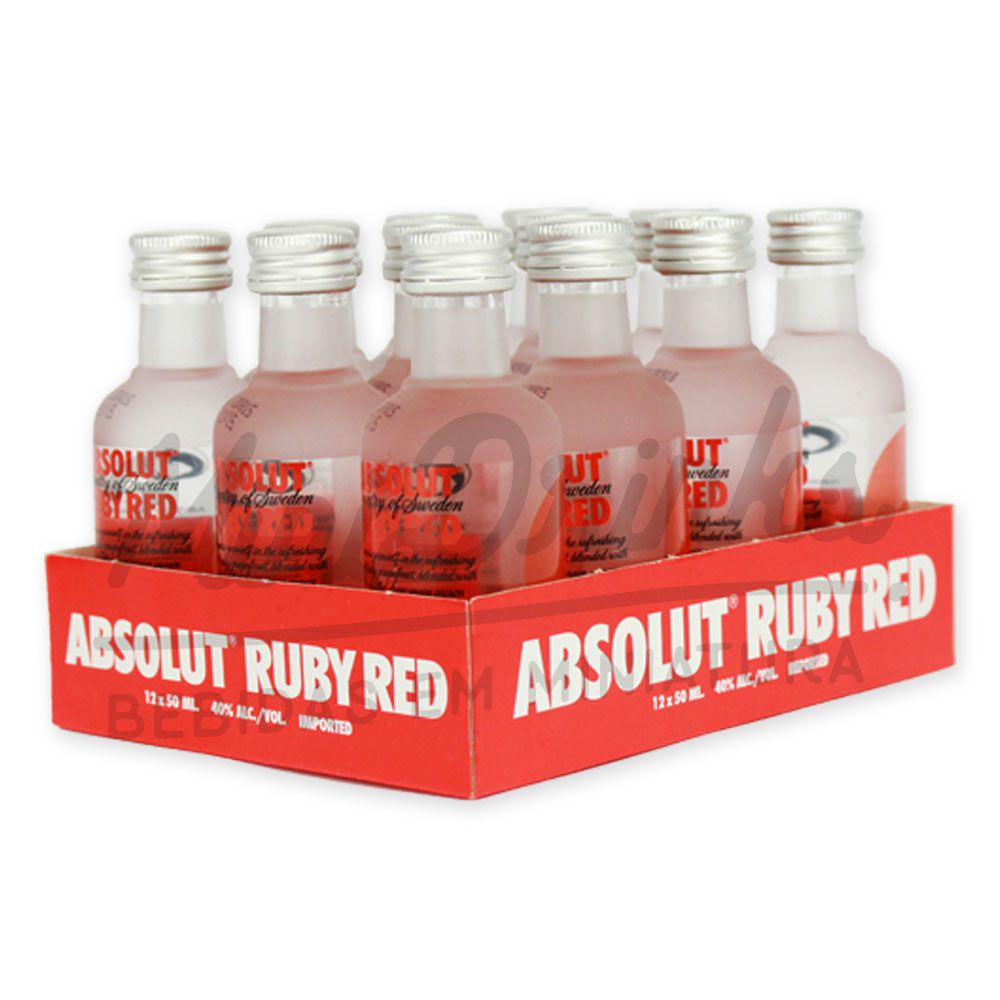 Pack 12 Un Mini Vodka Absolut Ruby Red 50ml