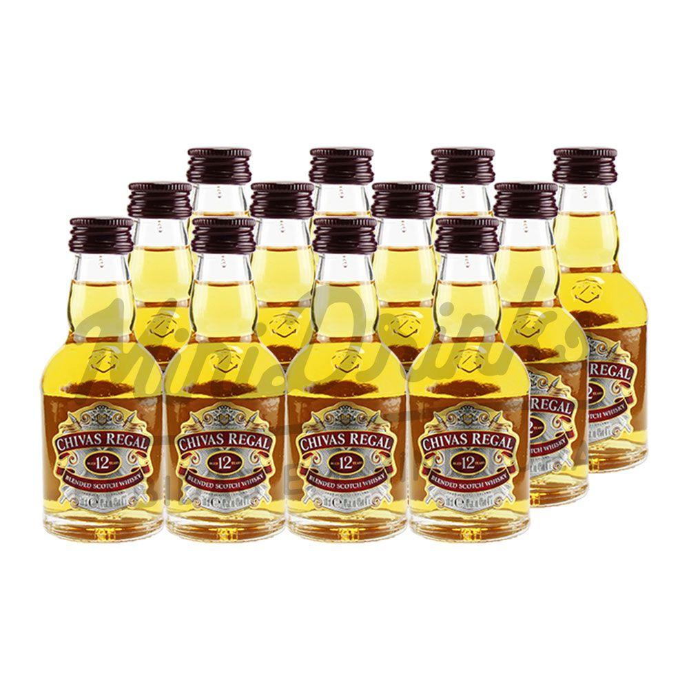 Pack 12 Un Mini Whisky Chivas 12 anos 50ml