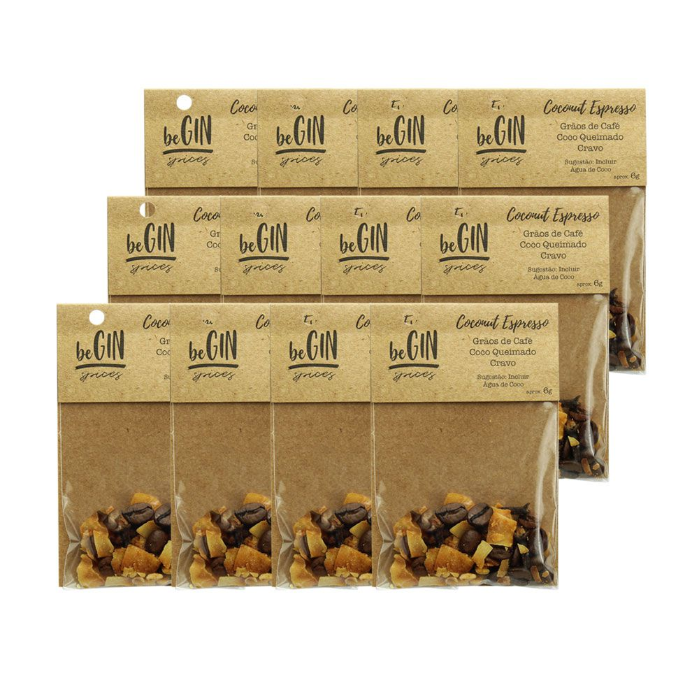Pack 12 Un Sachês Especiarias para Gin Tônica Coconut Espresso beGin