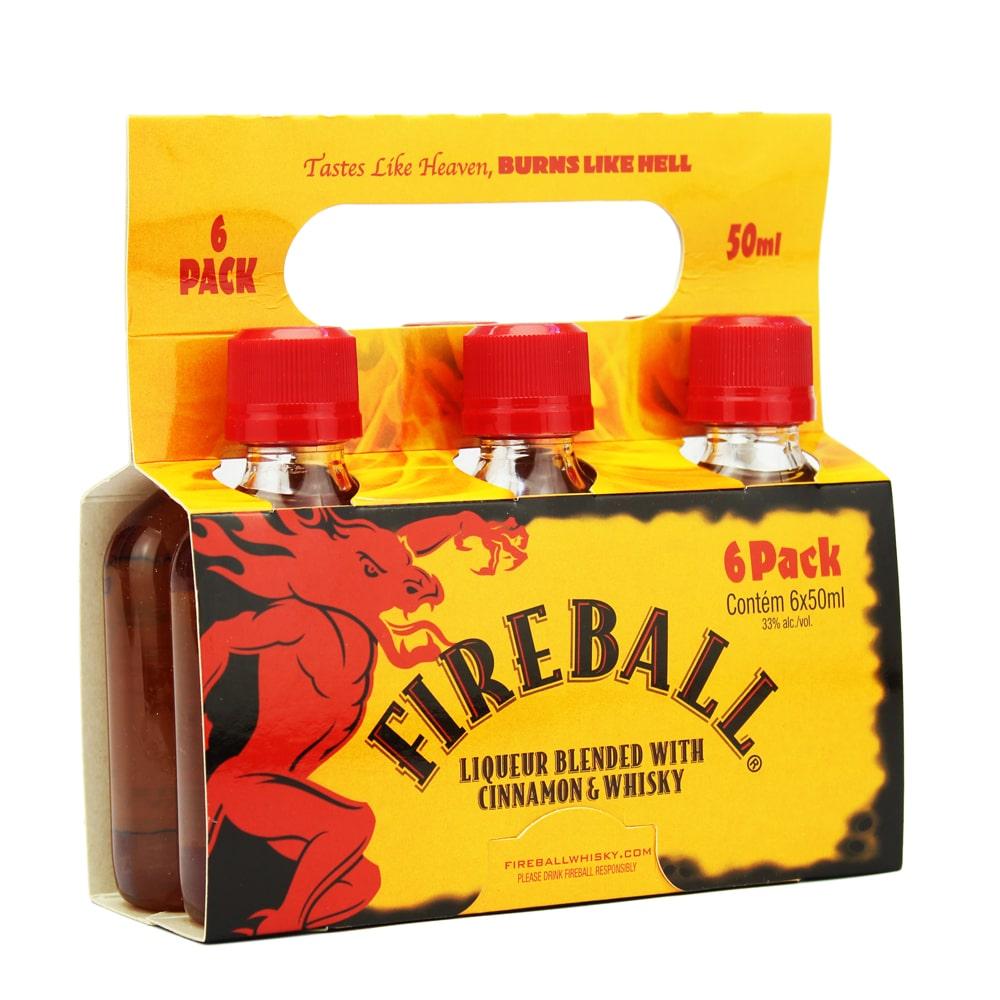 Pack 6 Un Mini Whisky Licor de Canela Fireball 50ml