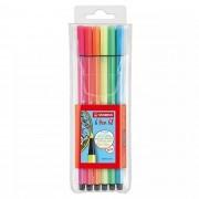 Caneta Extrafina, Stabilo, Point 68/6, Estojo com 6 cores, Neon