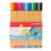 Caneta Extrafina, Stabilo, Point 8815, Estojo com 15 cores
