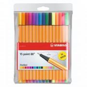 Caneta Extrafina, Stabilo, Point 8815, Estojo com 15 cores, Neon