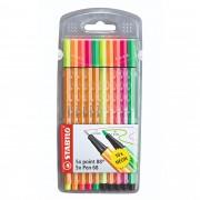 Caneta Extrafina, Stabilo, Point 88/68, Estojo com 10 cores, Neon