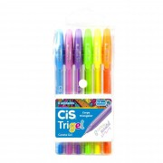 Caneta Gel, Cis, Trigel, 0.8mm, Com 6 Cores Pastel