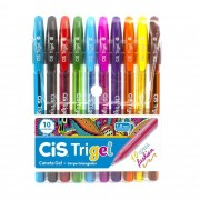 Caneta Gel, Cis, Trigel, 1.0mm, Com 10 Cores
