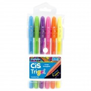 Caneta Gel, Cis, Trigel, 1.0mm, Com 6 Cores Neon