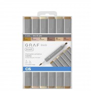 Marcador Artistico, Cis, Graf Duo Brush, Com 6 Cores