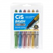 Marcador Artistico, Cis, Brush Metallic, Com 6 Cores