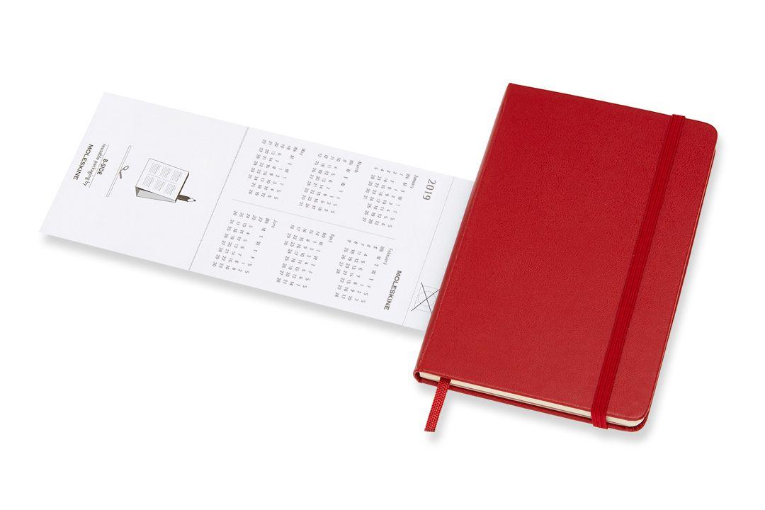 Agenda Moleskine 2019, Semanal Horizontal, 12 meses, Tamanho Bolso (9 cm x 14 cm), Vermelho Escarlate, Capa Dura