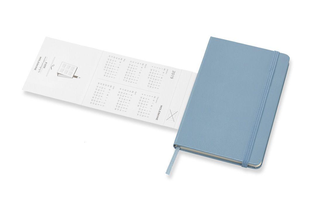 Agenda Moleskine 2019, Semanal Pautada, 12 meses, Tamanho Bolso (9 cm x 14 cm), Azul Acizentado, Capa Dura