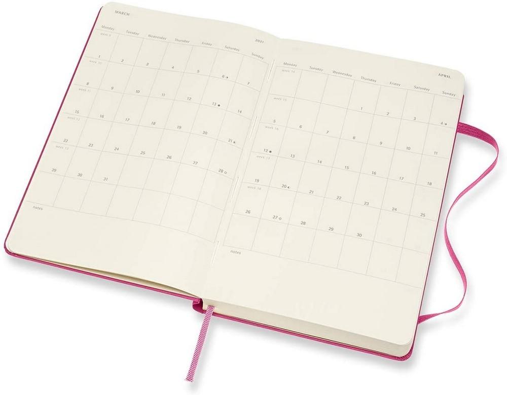 Agenda Moleskine Diaria 12 Meses, Grande, Rosa, Capa Dura