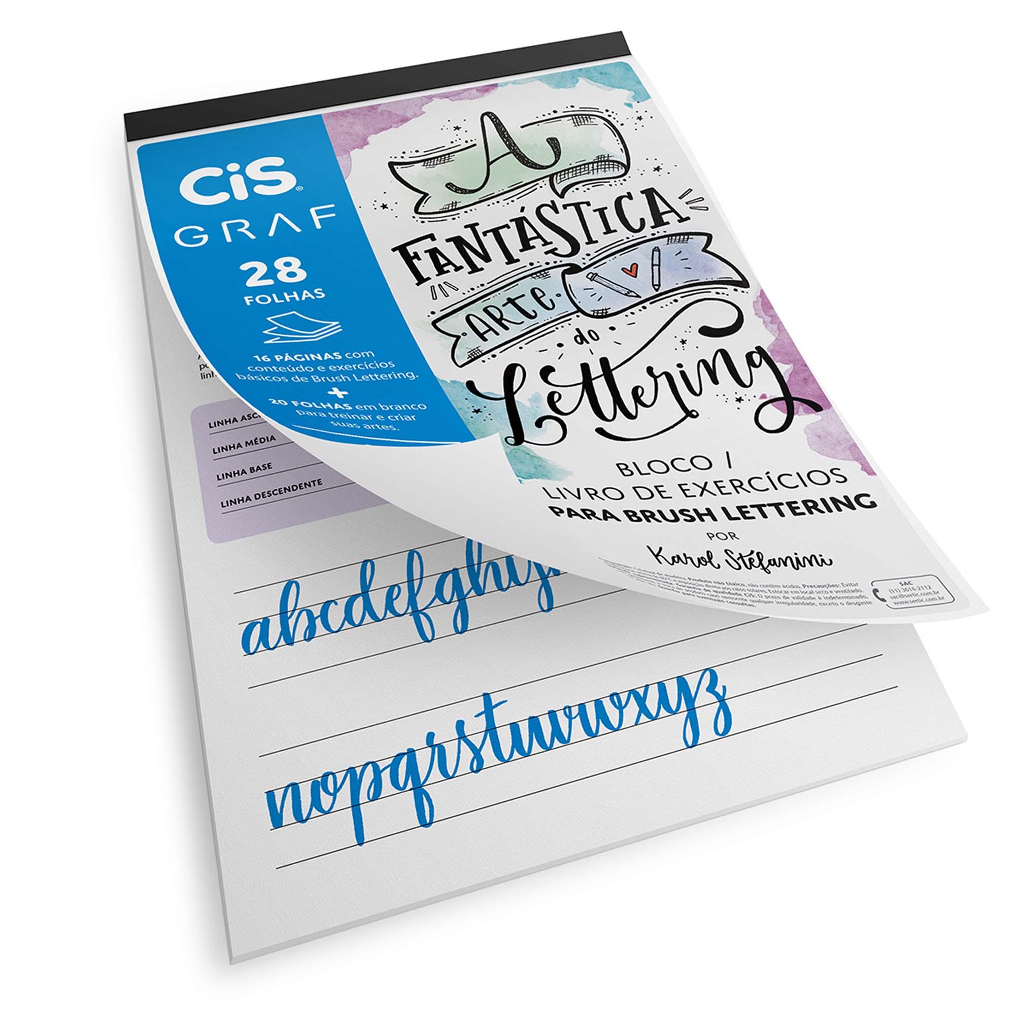 Bloco de Lettering, Com Livro de Exercícios, CiS Graf, Com 28 Folhas